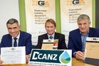 Minister for Primary Industries Nathan Guy (left), Malcolm Bailey - DCANZ chair (centre) and DCANZ executive committee member John Penno at the GIA signing.