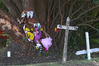 Tributes and crosses for a girl who died in hospital nine days after being involved in a car crash in Tauranga. Photo/John Borren