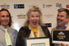 Clearview Estate Winery and Restaurant head chef Pete Hallgarth (left), co-owner Helma van den Berg and general manager Charles Gear after winning the Supreme Award. Photo/ Duncan Brown.