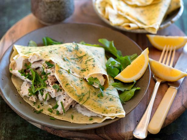 Savoury green herb crepes with chicken filling. Photo / Babiche Martens