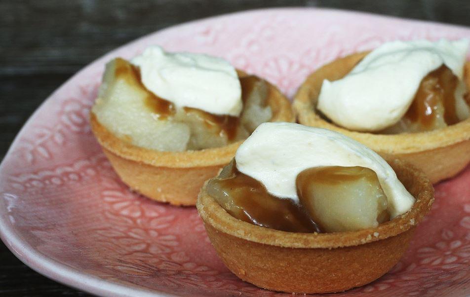 Mini pear and ginger tarts with caramel. Photo / Doug Sherring