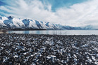 Snow at the edge of Lake Ohau, Mackenzie Basin, in August 2015. Photo / Sarah Ivey