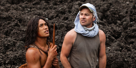 Toa Fraser on the set of The Dead Lands with actor James Rolleston.
