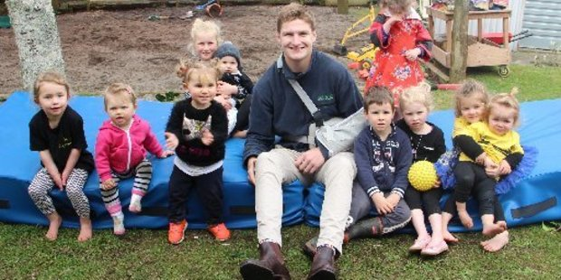 The youngsters at Toko Playcentre were pleased to meet Jordie Barrett.