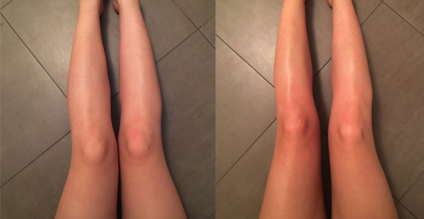 Before and after using Bondi Sands Tan.