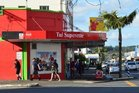Kaikohe's Tui Superette, where one employee was fortunate not to have been severely injured by a would-be robber.