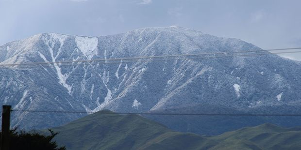 Winter returned to Dannevirke this week with snow on the Ruahine Ranges. Photo / Christine McKay