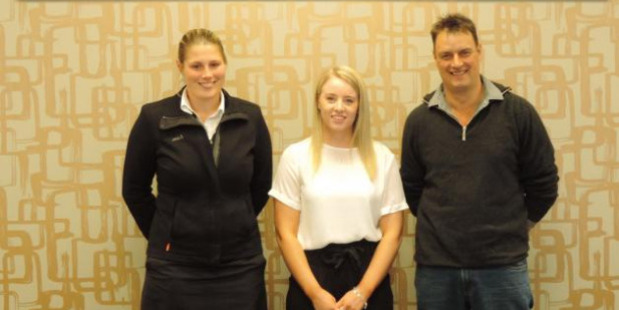 The recipient of this year's North Otago Federated Farmers-ANZ rural tertiary scholarship, Megan McLeod is flanked by ANZ agri-relationships manager Kirsty Stratton and North Otago Federated Farmers meat and fibre chairman Greg Ruddenklau. Photo / Sally Brooker