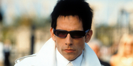 Ben Stiller dressed a white suit and sunglasses during Zoolander filming. Photo / Getty