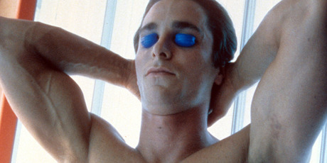Christian Bale in tanning bed in a scene from the film 'American Psycho', 2000. Photo / Getty