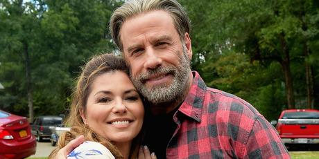 Shania Twain and John Travolta is on the set of Trading Paint. Photo / Getty