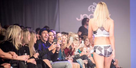 Art Green was front row and centre when Matilda Rice hit the catwalk for Jockey at Fashion Week. Photo / Michael Craig