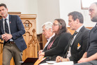David Elliott, (left) National party candidate joined other Napier candidates in a meeting at St Paul's Presbyterian Church in Napier. Photo / Paul Taylor
