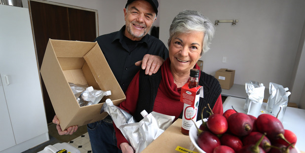 Robin and Heather Nitschke of the NZ Tamarillo Co-operative prepare to ship 600kg of tamarillo pulp and tamarillo vinegar concentrate to the United States. Photo / John Stone