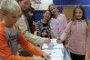 Kids at Springbank School cast their votes in a mock election. PHOTO / PETER DE GRAAF