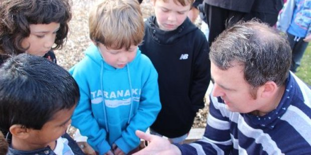 Deputy Principal Aaron Moore shows some pupils the leafcutter bee cocoons.