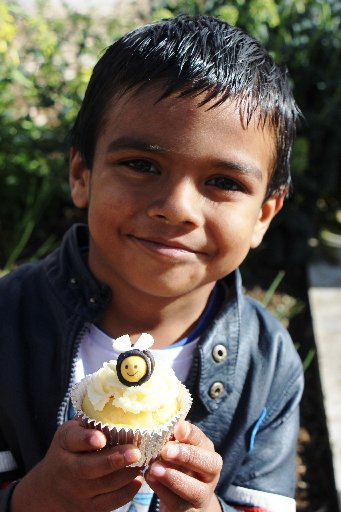Krashiv Patel (5) had a big smile for his cupcake, and also demonstrated beautiful manners, by thanking the teacher who made them before he took a bite!