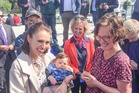 Labour Party leader Jacinda Ardern meets 3-month old Finn and his mother Jenny Keown in Napier today. With them is Labour's Tukituki candidate Anna Lorck. PHOTO/WARREN BUCKLAND.