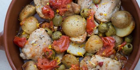 Tomato, olive, potato and chicken bake. Photo / Nick Reed