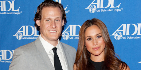 Actress Meghan Markle (R) and her ex husband Trevor Engelson. Photo / Getty