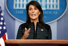 U.S. Ambassador to the United Nations Nikki Haley speaks during a news briefing at the White House, in Washington. Photo / AP
