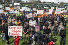 UNITED: A mass rally at Farndon Park yesterday displayed a show of force from the Hawke's Bay community against a WCO application. Photo / Paul Taylor