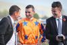 Jockey Opie Bosson shares a joke with co-trainers Stephen Autridge (left) and Jamie Richards after winning the Windsor Park Plate on Gingernuts in Hastings today. Photo/Warren Buckland