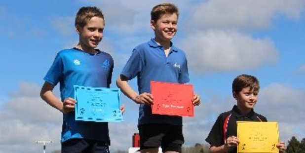 Champions of the U-11 Boys. First: Dylan Kowalewski Midhirst School, Second: Jack Keller Ngaere School, Third: Levi Carter Stratford Primary School.