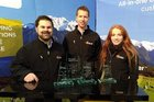 My Apiary co-founders Darren Bainbridge and Carl Vink, and marketing intern Steph Fankhauser with the four Fieldays innovation awards the company won this year.