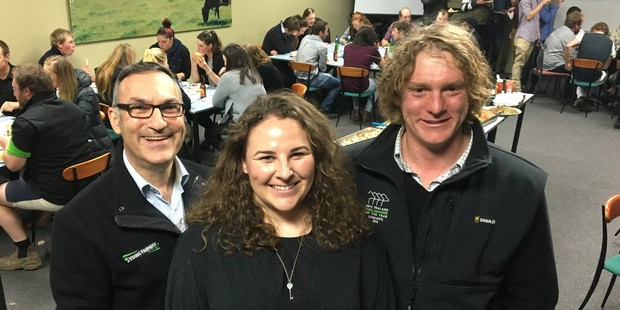 New Zealand Young Farmers CEO Terry Copeland (left), South Taranaki Young Farmers chairperson Amelia Nichol and South Taranaki Young Farmers vice-chairperson Sam Ebbett. Photo / Supplied