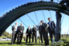Officials including Gary Allis, Bill Holland, former mayors and Simon Bridges celebrate a $1m grant for an 'iconic' cycleway bridge over the Wairoa River. But bridge plans have now been shelved for something more affordable. Photo/file