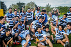 The Hawke's Bay Samoans rugby team celebrate a second consecutive High Commission Cup title at Park Island on Saturday. Photo/Paul Taylor