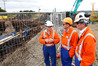 Hours after getting re-elected Whangarei MP Shane Reti, centre, visited the Ruakaka to Auckland pipeline repair with Peter Gubb Leadership Team Refining Manager, and RNZ Chief Executive Sjoerd Post.