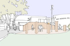 An artist's impression of what the council could approve - that Napier's memorial be located at the floral clock site, and the War Memorial Hall be referenced outside the building. Photo / Supplied