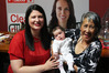 Northland Labour candidate Willow-Jean Prime with baby Heeni (7 weeks) and step-grandmother Joyce Downs on election night at the Klondike Tavern in Kawakawa. PHOTO / PETER DE GRAAF