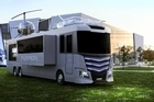 The $3.4m RV, made by Furrion, is 45ft long and eight-foot wide home on wheels that comes with a hot tub and helicopter.