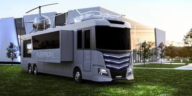 Loading The Elsium RV is a 45ft long, eight-foot wide motor home that comes with its own rooftop hot tub and a two-seater helicopter. Photo / Furrion