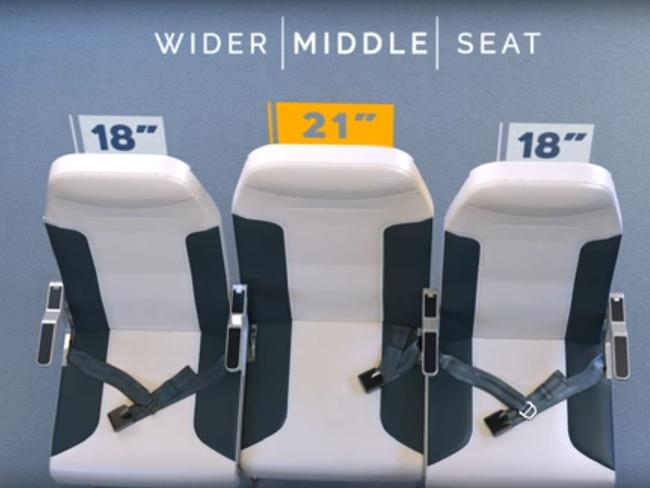 In the proposed layout, the middle seat is positioned further back than the aisle and window seats, as well as being lower. Photo / YouTube