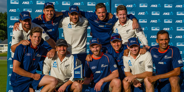 Loading NZ Black caps win the ANZ Test Trophy against Bangladesh at Hagley Oval, Christchurch. Photo/Photosport