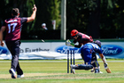 Tom Latham stumps Jeet Raval off the bowling of Tim Johnston. Photo / Photosport
