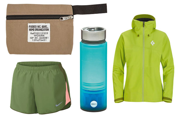 Items clockwise from top left: Puebco pouch, $25, from Good As Gold. Quest water filtration cup, $119.90 from Sitka. Black Diamond trail jacket, $479.90, from Bivouac. Nike shorts, $40.
