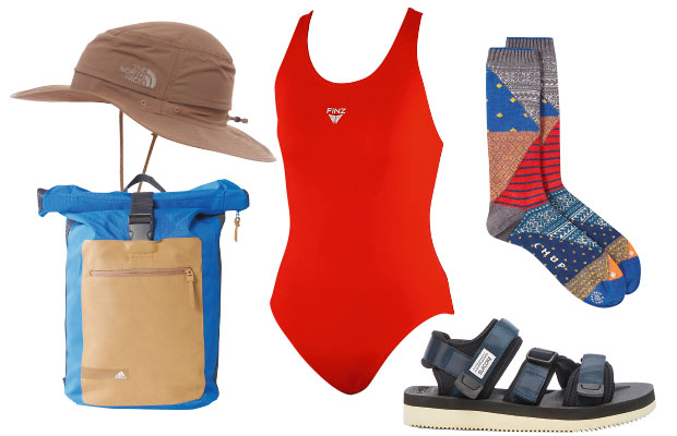 Items clockwise from top left: North Face sunhat, $29. Finz swimsuit, $64, from Rebel Sport. Chup socks, $39, from Good As Gold. Suicoke sandals, $299, from Area 51. Adidas backpack, $55.