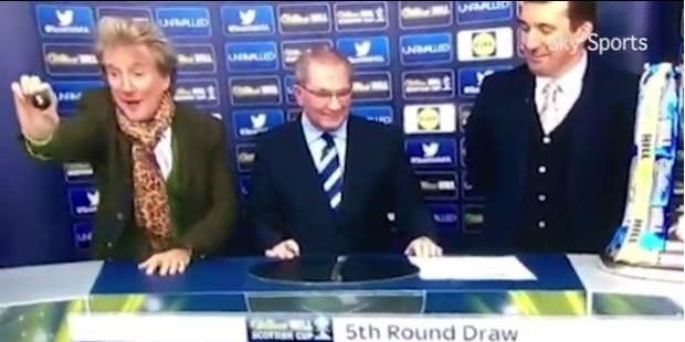 Rod Stewart' enthusiasm during the Scottish Cup draw has delighted fans.