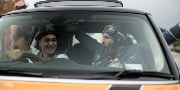 James Rolleston and Dean O'Gorman in a scene from Pork Pie.