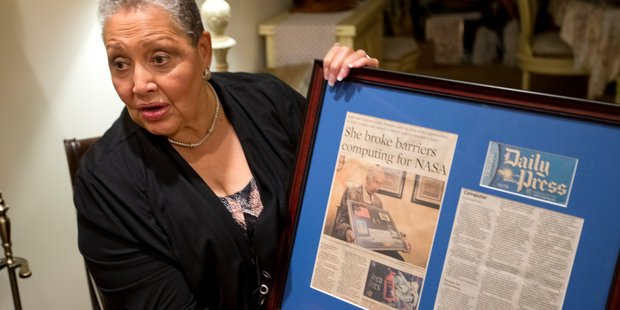 FOR RELEASE SUNDAY, JANUARY 22, 2017, AT 12:01 A.M. EST.- Katherine Moore, daughter of Katherine Johnson who was the lead figure in the movie Hidden Figures, with memorabilia about her mathematician m