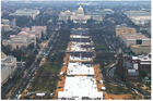 This pair of photos shows a view of the crowd on the National Mall at the inaugurations of President Donald Trump, below, on Jan. 20, 2017. Photo / AP