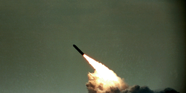A Trident II missile launched by the US Navy during a performance evaluation. Photo / AP file