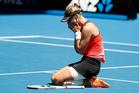 Croatia's Mirjana Lucic-Baroni celebrates after defeating Karolina Pliskova of the Czech Republic. Photo / AP