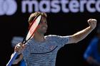 Bulgaria's Grigor Dimitrov celebrates after defeating Belgium's David Goffin during their quarterfinal at the Australian Open. Photo / AP