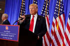 President Donald Trump at a news conference earlier this month. Photo / AP